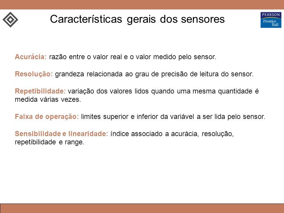 Acurácia: razão entre o valor real e o valor medido pelo sensor. Resolução: grandeza relacionada ao grau de precisão de leitura do sensor. Repetibilid