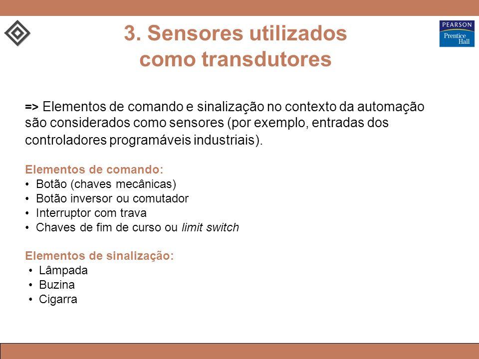=> Elementos de comando e sinalização no contexto da automação são considerados como sensores (por exemplo, entradas dos controladores programáveis industriais).