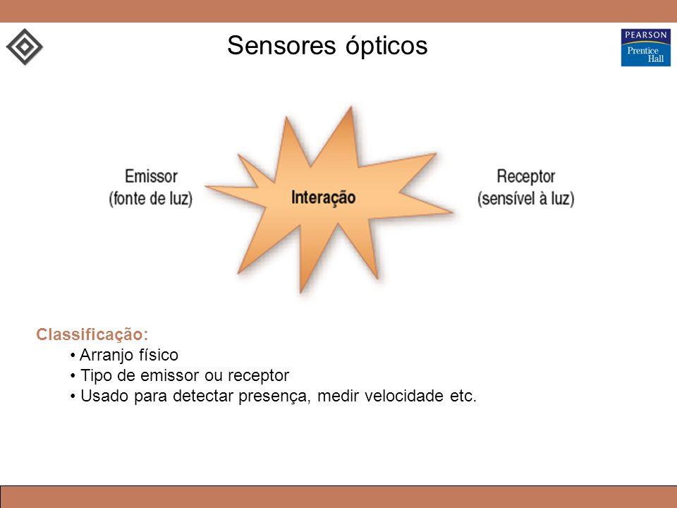 Classificação: Arranjo físico Tipo de emissor ou receptor Usado para detectar presença, medir velocidade etc. Sensores ópticos