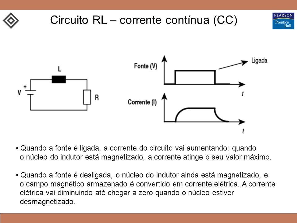 Quando a fonte é ligada, a corrente do circuito vai aumentando; quando o núcleo do indutor está magnetizado, a corrente atinge o seu valor máximo.