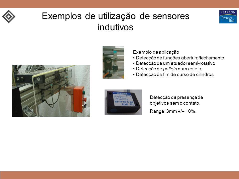 Exemplos de utilização de sensores indutivos Exemplo de aplicação Detecção de funções abertura/fechamento Detecção de um atuador semi-rotativo Detecção de pallets num esteira Detecção de fim de curso de cilindros Detecção da presença de objetivos sem o contato.