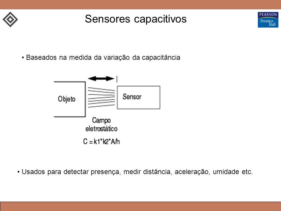 Baseados na medida da variação da capacitância Usados para detectar presença, medir distância, aceleração, umidade etc. Sensores capacitivos
