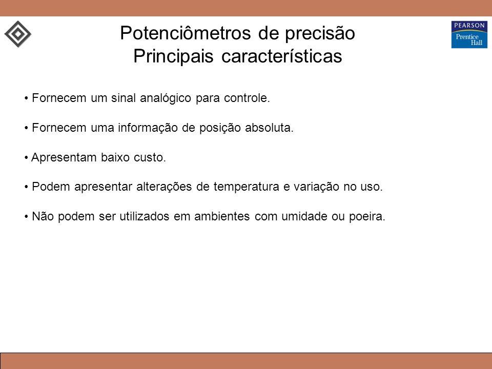Potenciômetros de precisão Principais características Fornecem um sinal analógico para controle. Fornecem uma informação de posição absoluta. Apresent
