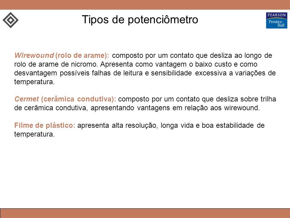 Tipos de potenciômetro Wirewound (rolo de arame): composto por um contato que desliza ao longo de rolo de arame de nicromo. Apresenta como vantagem o