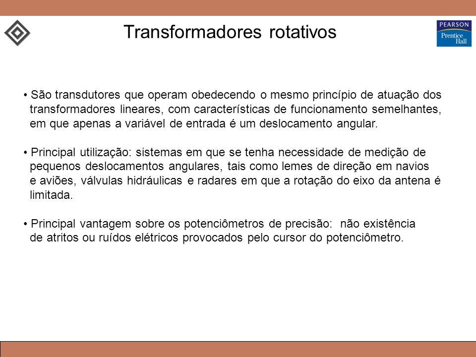 Transformadores rotativos São transdutores que operam obedecendo o mesmo princípio de atuação dos transformadores lineares, com características de funcionamento semelhantes, em que apenas a variável de entrada é um deslocamento angular.