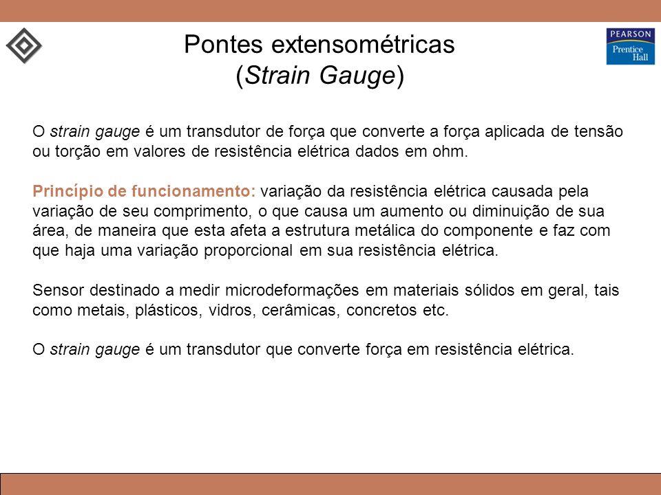 Pontes extensométricas (Strain Gauge) O strain gauge é um transdutor de força que converte a força aplicada de tensão ou torção em valores de resistência elétrica dados em ohm.