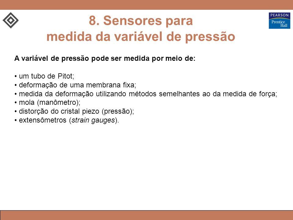 8. Sensores para medida da variável de pressão A variável de pressão pode ser medida por meio de: um tubo de Pitot; deformação de uma membrana fixa; m