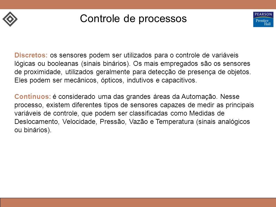 Discretos: os sensores podem ser utilizados para o controle de variáveis lógicas ou booleanas (sinais binários). Os mais empregados são os sensores de