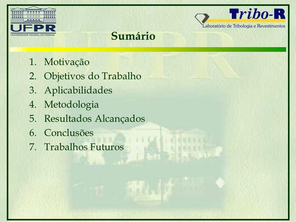 Sumário 1.Motivação 2.Objetivos do Trabalho 3.Aplicabilidades 4.Metodologia 5.Resultados Alcançados 6.Conclusões 7.Trabalhos Futuros