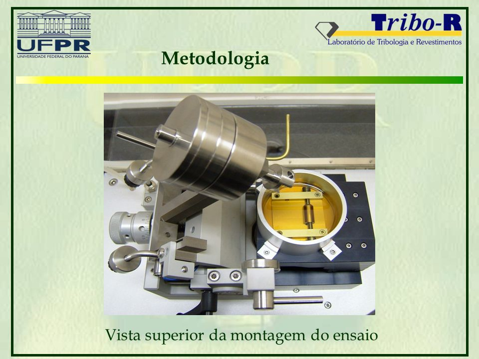 Metodologia Vista superior da montagem do ensaio