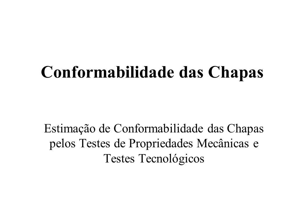 Conformabilidade das Chapas Estimação de Conformabilidade das Chapas pelos Testes de Propriedades Mecânicas e Testes Tecnológicos