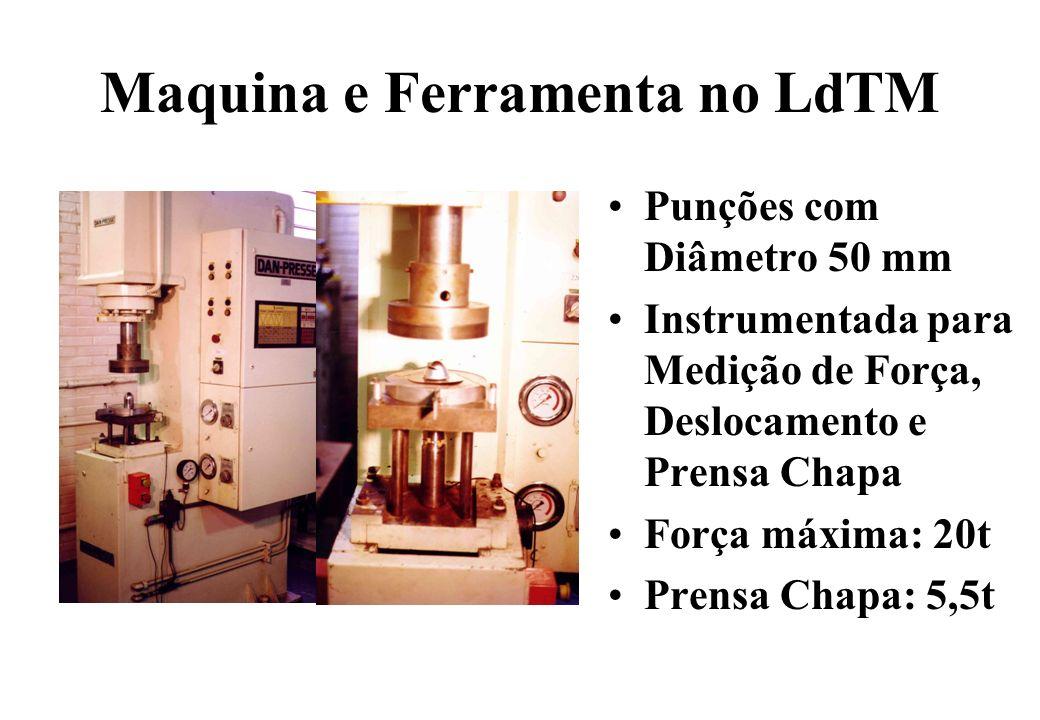 Maquina e Ferramenta no LdTM Punções com Diâmetro 50 mm Instrumentada para Medição de Força, Deslocamento e Prensa Chapa Força máxima: 20t Prensa Chap