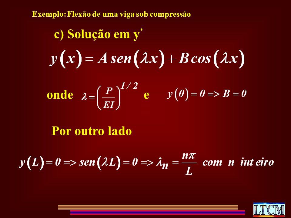 c) Solução em y ondee Por outro lado