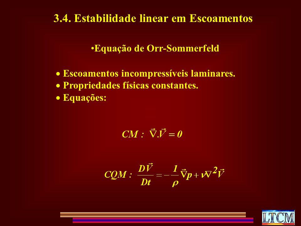3.4. Estabilidade linear em Escoamentos Equação de Orr-Sommerfeld Escoamentos incompressíveis laminares. Propriedades físicas constantes. Equações: