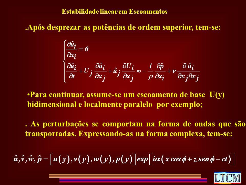 .Após desprezar as potências de ordem superior, tem-se: Para continuar, assume-se um escoamento de base U(y) bidimensional e localmente paralelo por exemplo;.
