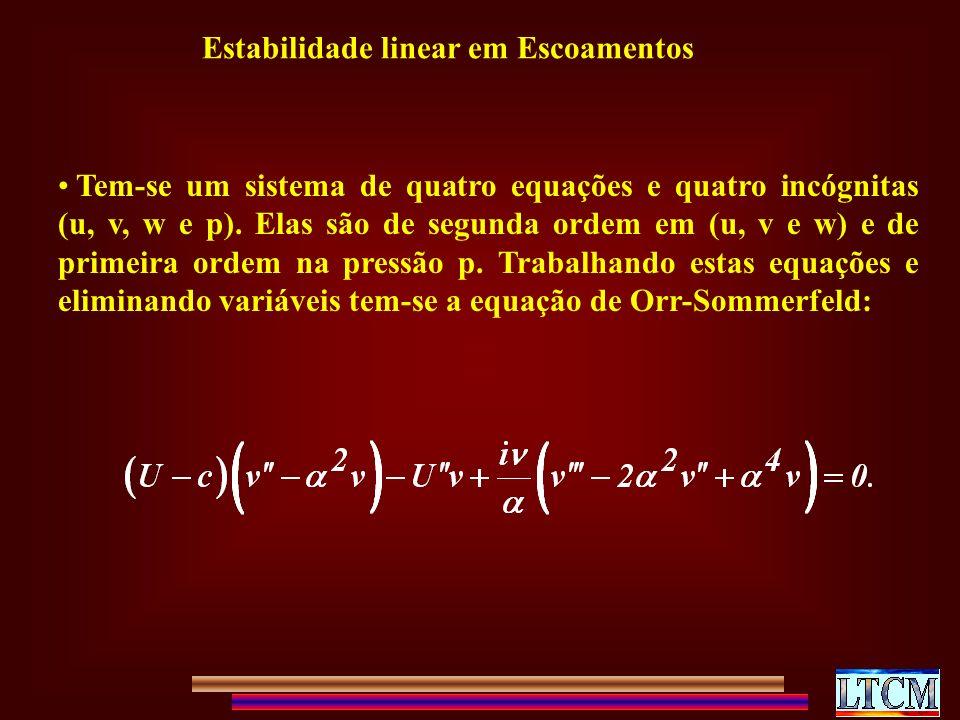 Tem-se um sistema de quatro equações e quatro incógnitas (u, v, w e p).