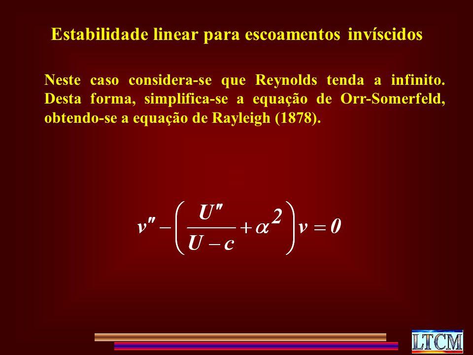 Estabilidade linear para escoamentos invíscidos Neste caso considera-se que Reynolds tenda a infinito.