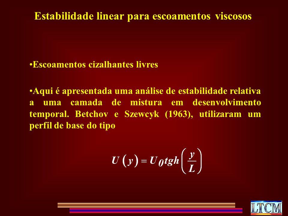 Estabilidade linear para escoamentos viscosos Escoamentos cizalhantes livres Aqui é apresentada uma análise de estabilidade relativa a uma camada de mistura em desenvolvimento temporal.