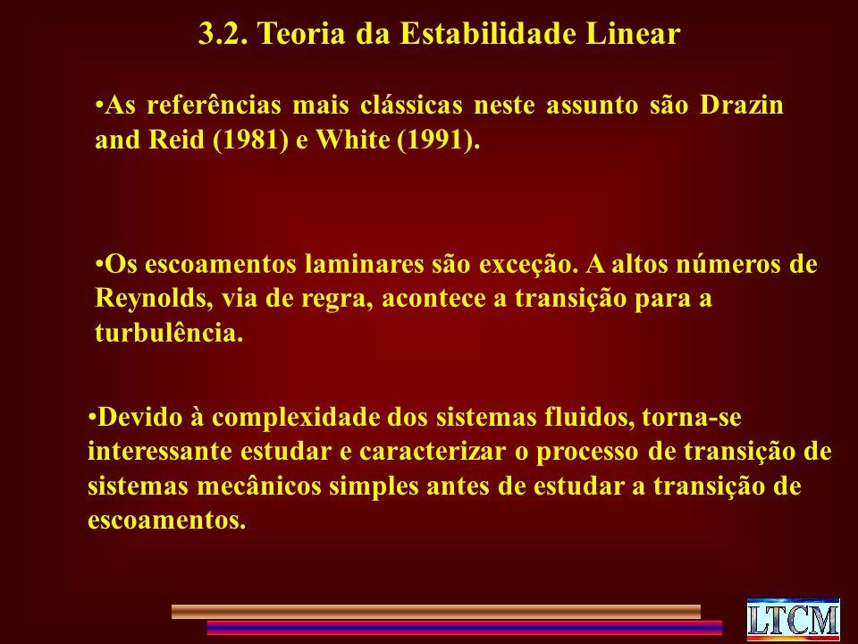 3.2. Teoria da Estabilidade Linear As referências mais clássicas neste assunto são Drazin and Reid (1981) e White (1991). Os escoamentos laminares são