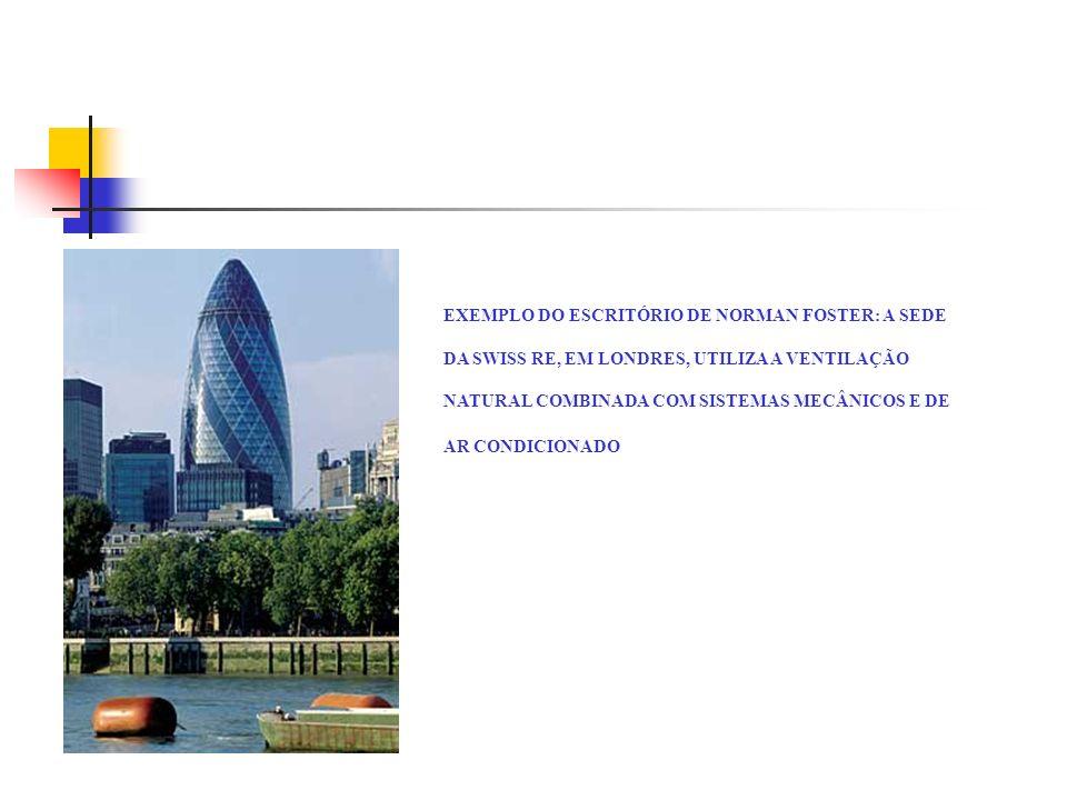 EXEMPLO DO ESCRITÓRIO DE NORMAN FOSTER: A SEDE DA SWISS RE, EM LONDRES, UTILIZA A VENTILAÇÃO NATURAL COMBINADA COM SISTEMAS MECÂNICOS E DE AR CONDICIO