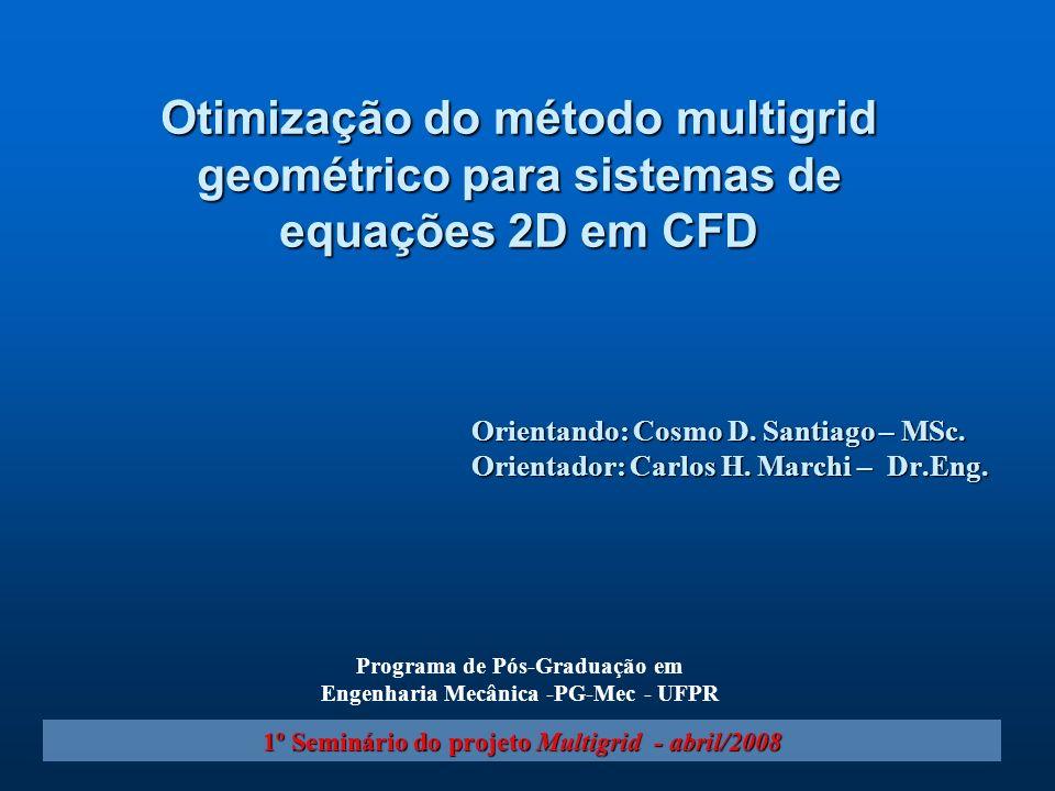 Orientando: Cosmo D. Santiago – MSc. Orientador: Carlos H. Marchi – Dr.Eng. 1º Seminário do projeto Multigrid - abril/2008 Otimização do método multig