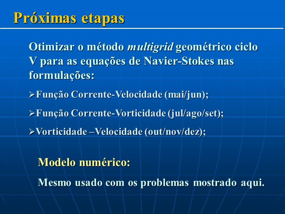 Próximas etapas Otimizar o método multigrid geométrico ciclo V para as equações de Navier-Stokes nas formulações: Função Corrente-Velocidade (mai/jun); Função Corrente-Velocidade (mai/jun); Função Corrente-Vorticidade (jul/ago/set); Função Corrente-Vorticidade (jul/ago/set); Vorticidade –Velocidade (out/nov/dez); Vorticidade –Velocidade (out/nov/dez); Modelo numérico: Mesmo usado com os problemas mostrado aqui.