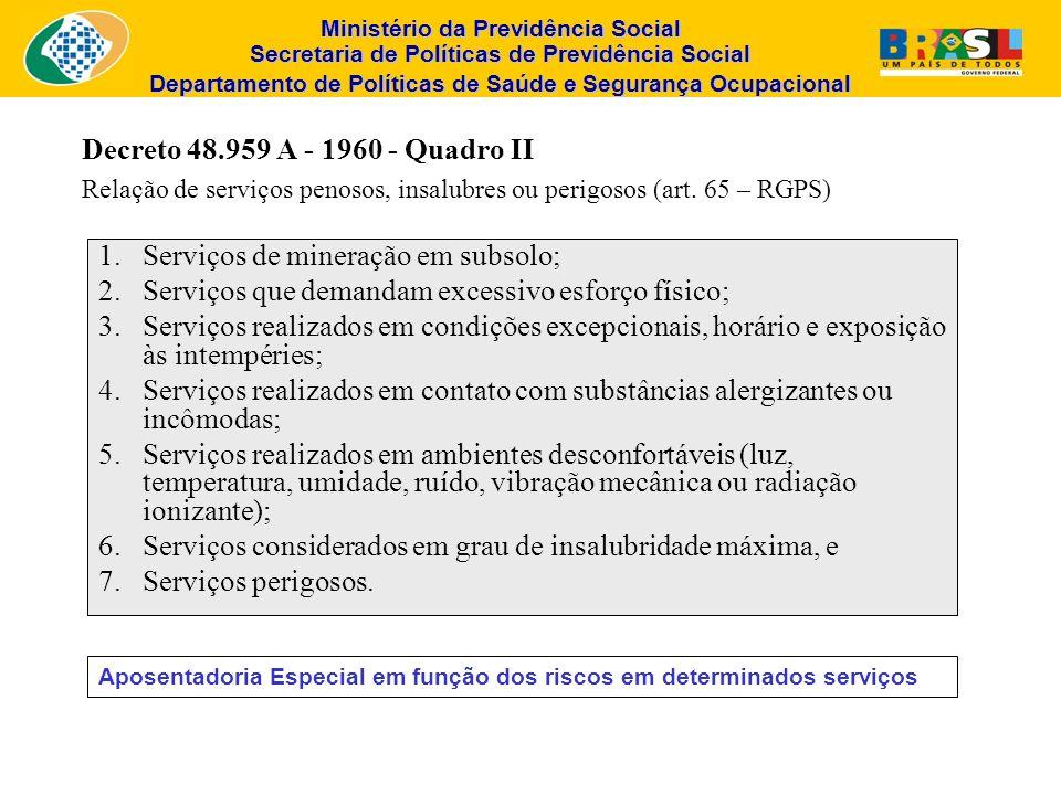 Ministério da Previdência Social Secretaria de Políticas de Previdência Social Departamento de Políticas de Saúde e Segurança Ocupacional Decreto 48.9