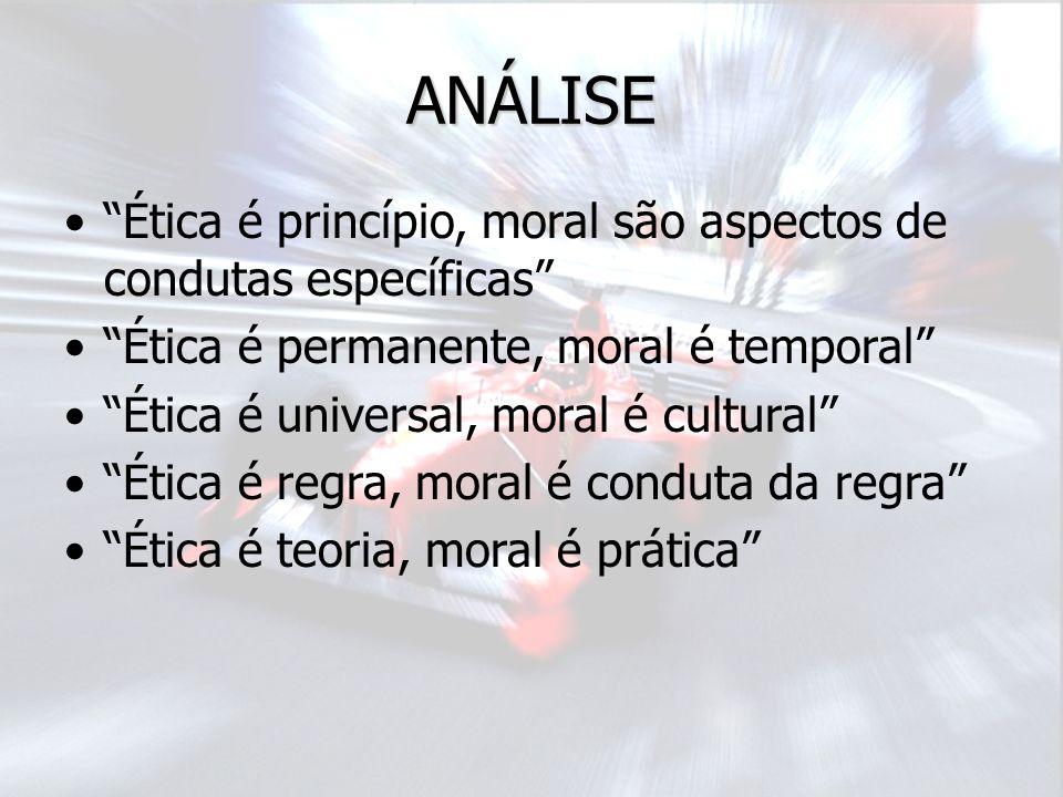 ANÁLISE Ética é princípio, moral são aspectos de condutas específicas Ética é permanente, moral é temporal Ética é universal, moral é cultural Ética é regra, moral é conduta da regra Ética é teoria, moral é prática
