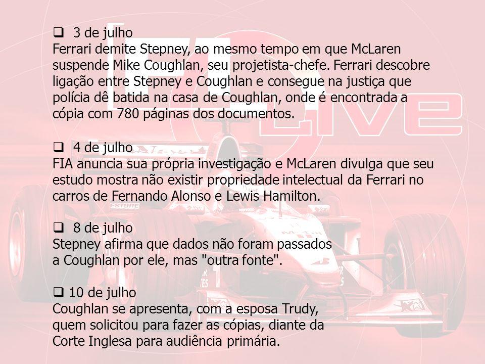 11 de julho Coughlan e advogados da Ferrari chegam a um acordo.