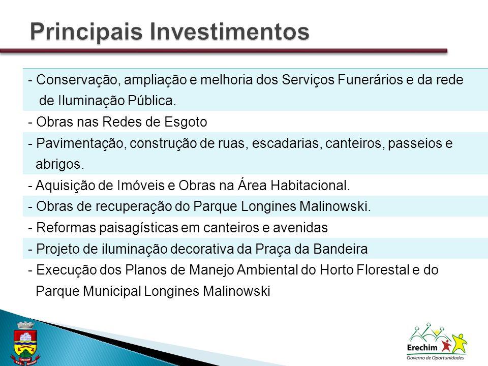 - Conservação, ampliação e melhoria dos Serviços Funerários e da rede de Iluminação Pública.