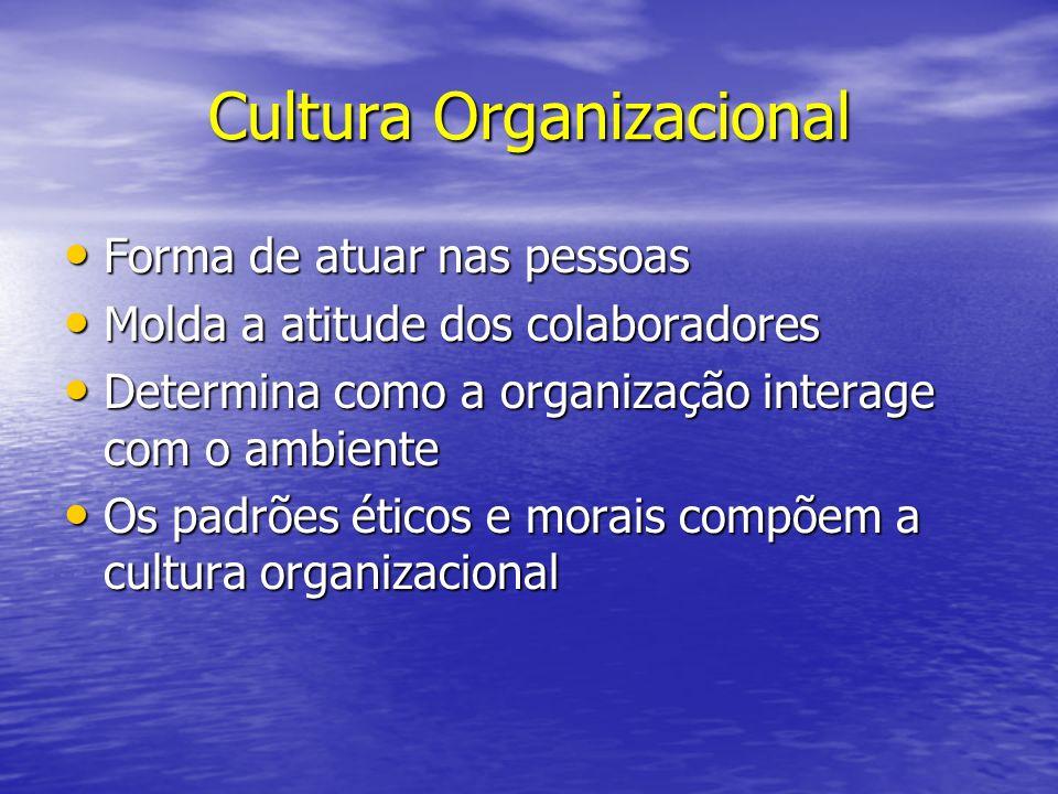 Cultura Organizacional Forma de atuar nas pessoas Forma de atuar nas pessoas Molda a atitude dos colaboradores Molda a atitude dos colaboradores Deter