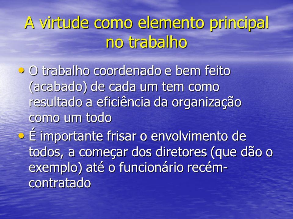 A virtude como elemento principal no trabalho O trabalho coordenado e bem feito (acabado) de cada um tem como resultado a eficiência da organização co