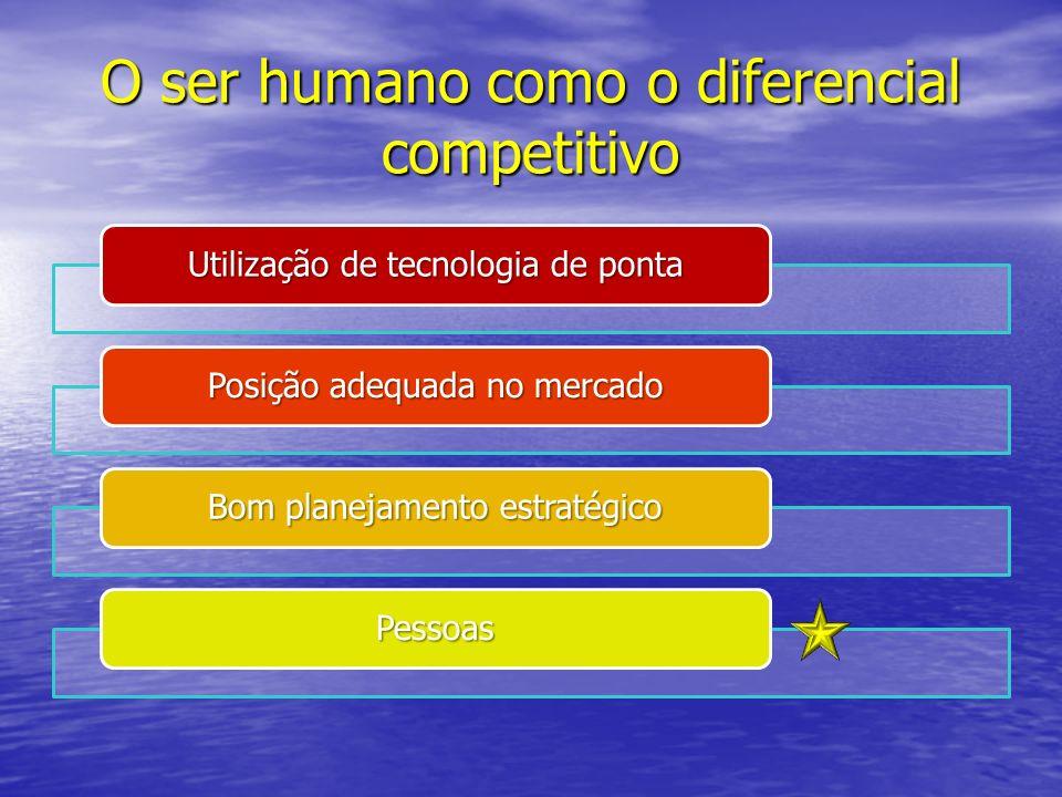 O ser humano como o diferencial competitivo Utilização de tecnologia de ponta Posição adequada no mercado Bom planejamento estratégico Pessoas