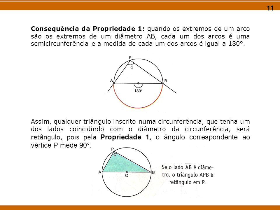 11 Consequência da Propriedade 1: quando os extremos de um arco são os extremos de um diâmetro AB, cada um dos arcos é uma semicircunferência e a medi