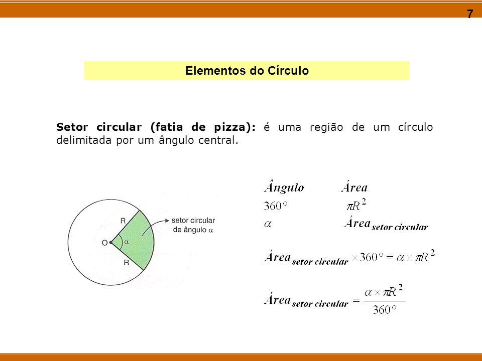8 Elementos do Círculo Segmento circular: é a parte de um setor circular compreendida entre a corda e o arco relativo ao setor: