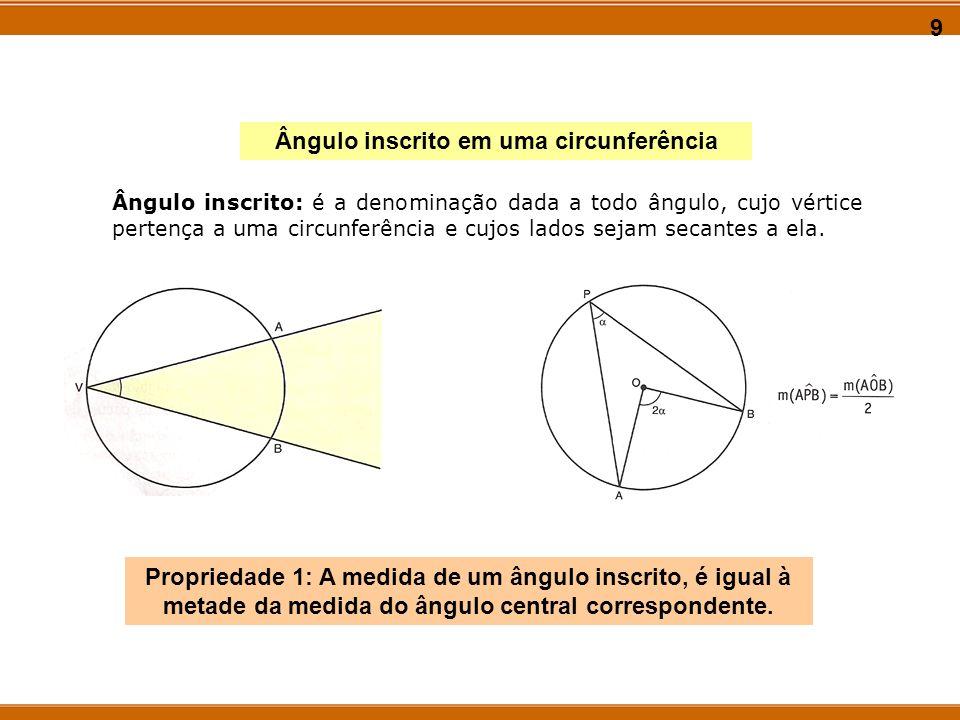 9 Ângulo inscrito em uma circunferência Propriedade 1: A medida de um ângulo inscrito, é igual à metade da medida do ângulo central correspondente. Ân