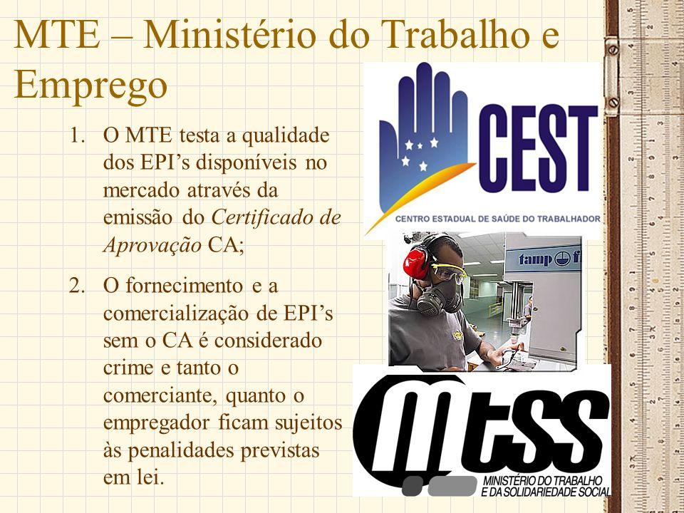 MTE – Ministério do Trabalho e Emprego 1.O MTE testa a qualidade dos EPIs disponíveis no mercado através da emissão do Certificado de Aprovação CA; 2.