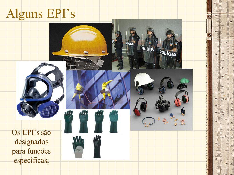 Alguns EPIs Os EPIs são designados para funções específicas;