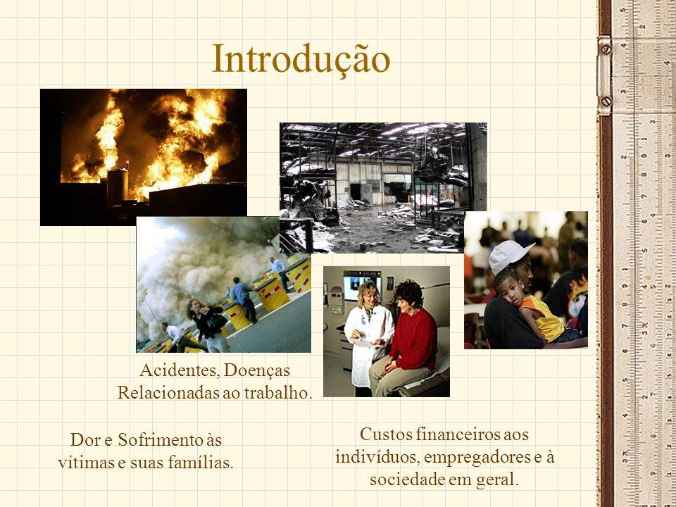 Introdução Acidentes, Doenças Relacionadas ao trabalho. Dor e Sofrimento às vítimas e suas famílias. Custos financeiros aos indivíduos, empregadores e