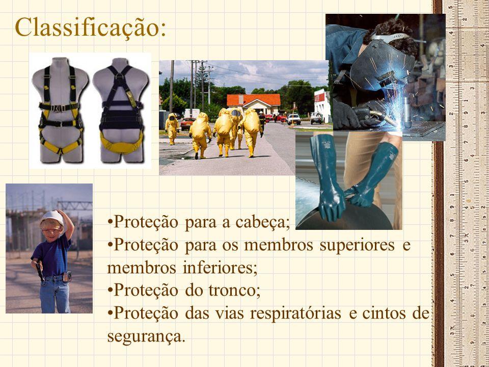 Classificação: Proteção para a cabeça; Proteção para os membros superiores e membros inferiores; Proteção do tronco; Proteção das vias respiratórias e