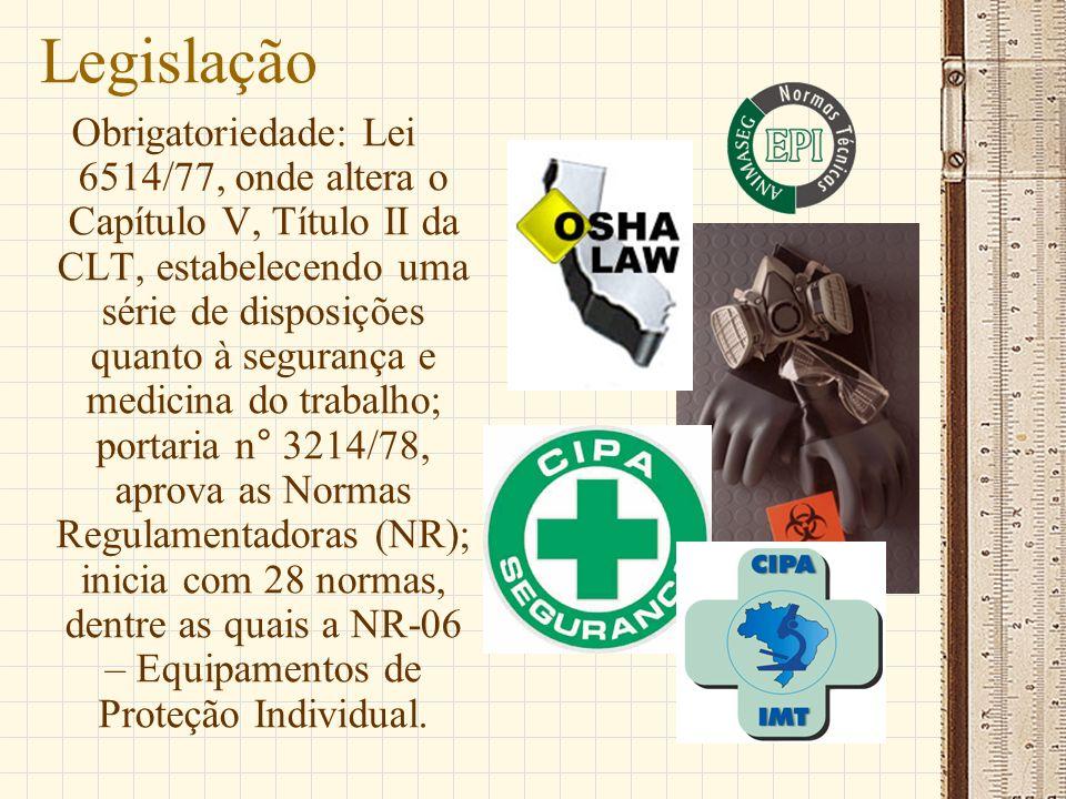 Legislação Obrigatoriedade: Lei 6514/77, onde altera o Capítulo V, Título II da CLT, estabelecendo uma série de disposições quanto à segurança e medic