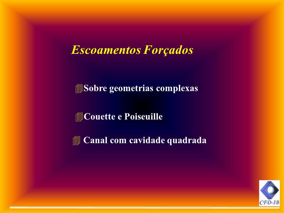 4Sobre geometrias complexas Escoamentos Forçados 4Couette e Poiseuille 4 Canal com cavidade quadrada