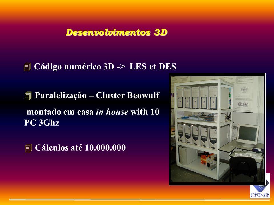 Desenvolvimentos 3D 4 Código numérico 3D -> LES et DES 4 Paralelização – Cluster Beowulf montado em casa in house with 10 PC 3Ghz 4 Cálculos até 10.00