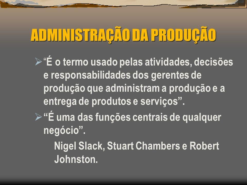 ADMINISTRAÇÃO DA PRODUÇÃO É a gestão do processo de conversão que transforma insumos, tais como matéria-prima e mão-de-obra, em resultados na forma de produtos acabados e serviços.