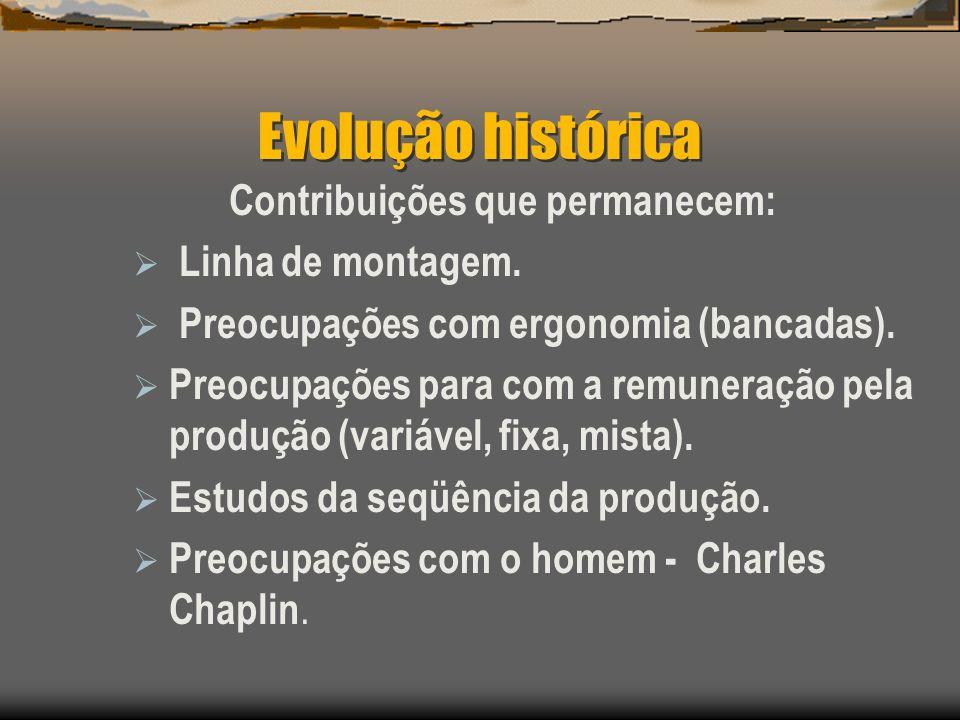 Evolução histórica Contribuições que permanecem: Linha de montagem. Preocupações com ergonomia (bancadas). Preocupações para com a remuneração pela pr
