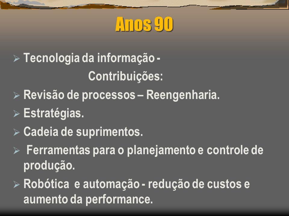 Anos 90 Tecnologia da informação - Contribuições: Revisão de processos – Reengenharia. Estratégias. Cadeia de suprimentos. Ferramentas para o planejam