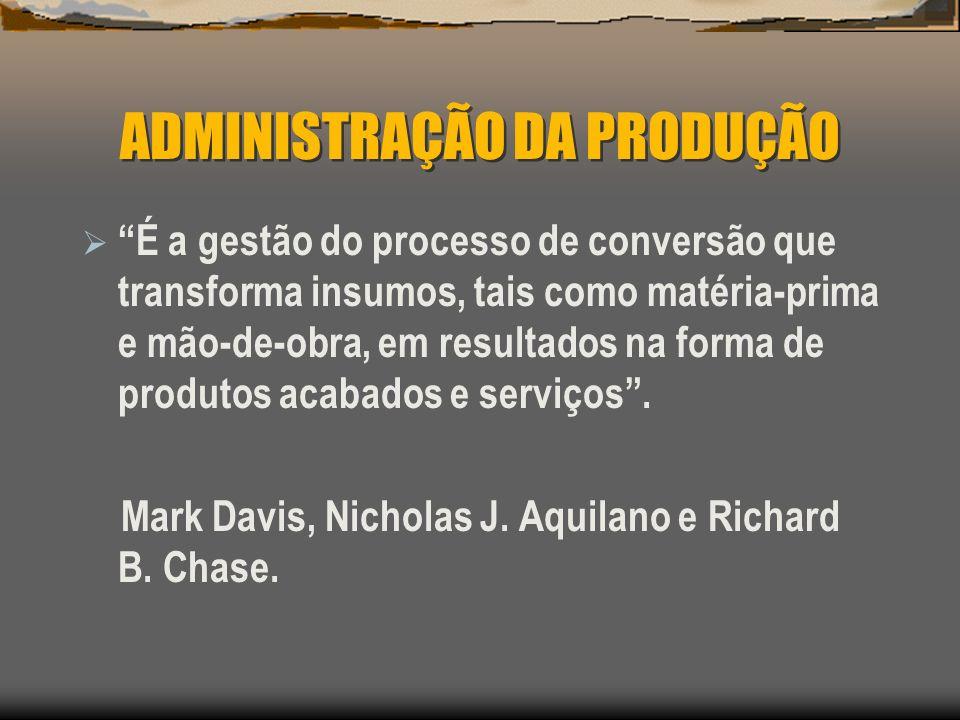 ADMINISTRAÇÃO DA PRODUÇÃO É a gestão do processo de conversão que transforma insumos, tais como matéria-prima e mão-de-obra, em resultados na forma de