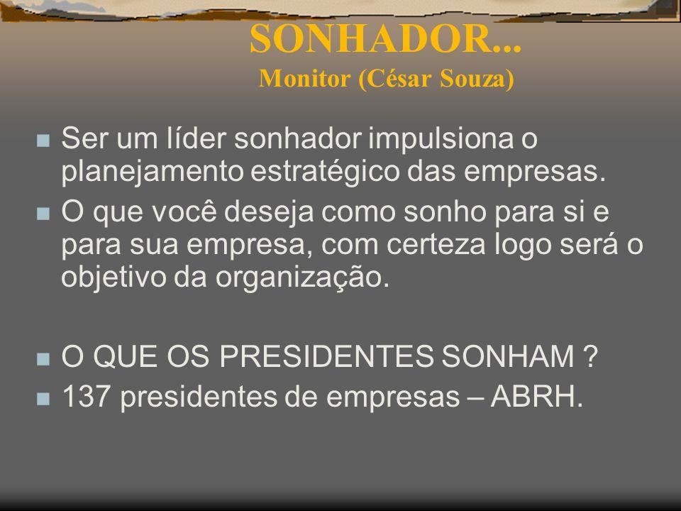SONHADOR... Monitor (César Souza) n Ser um líder sonhador impulsiona o planejamento estratégico das empresas. n O que você deseja como sonho para si e
