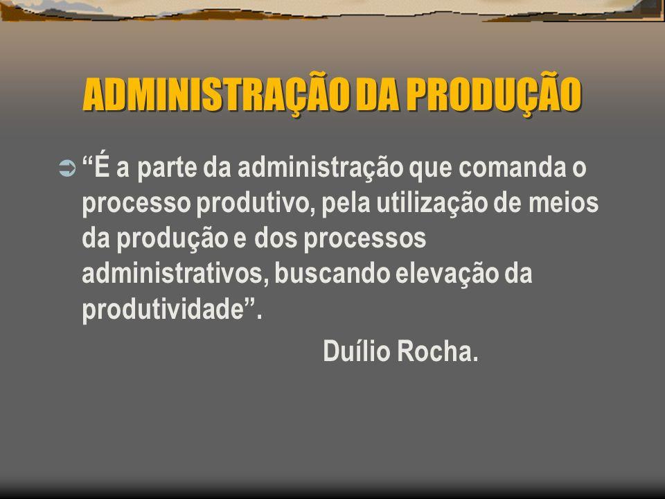 ADMINISTRAÇÃO DA PRODUÇÃO Administração da produção e de operações é o campo de estudo dos conceitos e técnicas aplicáveis à tomada de decisões na função de produção (empresas industriais) ou operações (empresas de serviços).