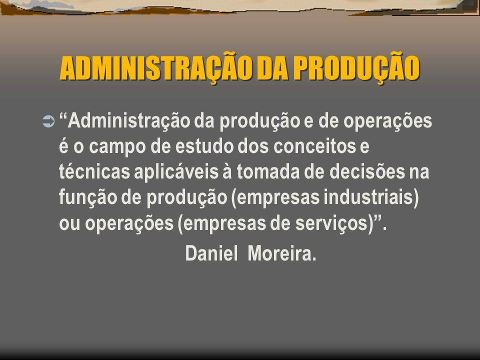 ADMINISTRAÇÃO DA PRODUÇÃO Administração da produção e de operações é o campo de estudo dos conceitos e técnicas aplicáveis à tomada de decisões na fun